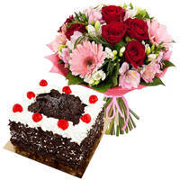 Majestic Multi-Colored Flowers Bouquet with Black Forest Cake to Chirala