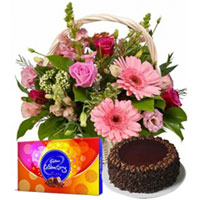 Supreme Midnight Gift of Yummy Chocolate Cake with Cadbury Celebration Pack and Exquisite Seasonal Flowers Basket to Cheyar