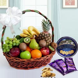 Special Danish Recipe Cookies N Chocolate Gift Basket with Fruits to Anantapur