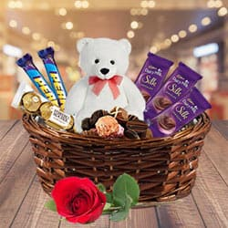 Aromatic Rose N Chocolates Fun Gift Basket with Teddy to Anantapur
