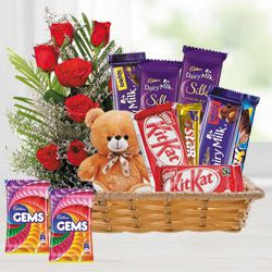 Finest Chocolate Hamper with Red Rose Bouquet to Trichy
