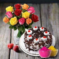 Majestic mixed Roses with mouth-watering Black Forest from 5 Star Bakery to Adilabad