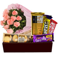 Gorgeous Bunch of Pink Roses with Chocolates Hamper to Adilabad