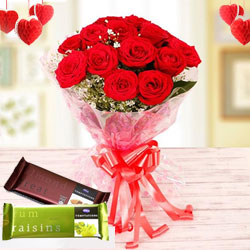 Sweet Emotions Rose Bouquet with Cadbury Chocolates to Coimbatore