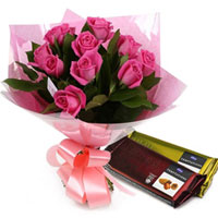 Tempting Gift of Cadbury Temptations N Pink Roses Bouquet to Amlapuram
