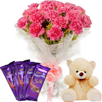 Happy Seasons Flowering Bouquet with Dairy Milk Silk N Teddy to Lucknow