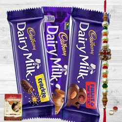 Assorted Cadbury Chocolate Pack with Rakhi to Ajmer