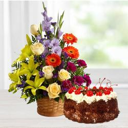 Majestic assorted Seasonal Flowers along with lip smacking Black Forest Cake  to Bhopal