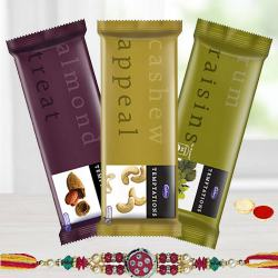 Cadburys Temptaion Trio with a designer Rakhi to Ajmer