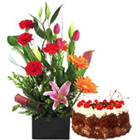 Exotic flowers with 1 Lb Black Forest Cake to Bharuch