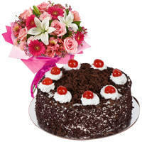 Beautiful Arrangement of Flowers with Black Forest Cake to Surat