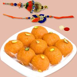 Boondi Ladoo n Rakhi Set for Bhaiya Bhabhi to Alwar