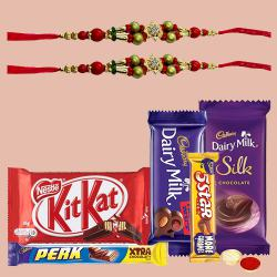 Assorted Chocolates with 2 Designer Rakhi to Ajmer