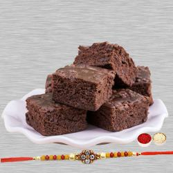 Brownies with Attractive Rakhi to Bhiwadi