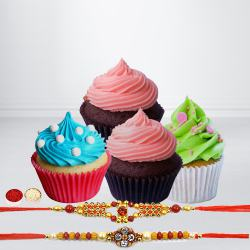 Cup Cakes with Designer Rakhi to Bhiwadi