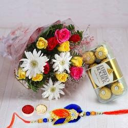 Ferrero Rocher Chocolates n Rakhi with Mixed Flower Bouquet to Bhiwadi