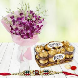 Ferrero Rocher Chocolates n Rakhi with Orchid Bouquet to Ankleshwar