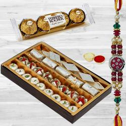 Assorted Sweets with Ferrero Rocher n Rakhi to Bijapur