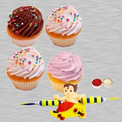 Cup Cakes with Kids Rakhi to Ankleshwar