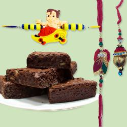 Brownies with Family Set Rakhi to Ajmer
