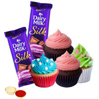 Marvelous Cup Cakes N Cadbury Silk Chocos to Ahmadnagar