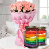 Tasty Rainbow Jar Cakes with Pink Roses to Noida