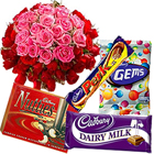 50 Pink and Red Roses with Assorted Cadbury Chocolates to Calicut