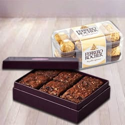 Delectable Brownies with Ferrero Rocher Chocolates to Ankleshwar