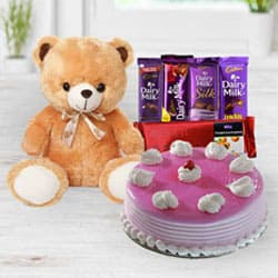 Exclusive Strawberry Cake with Chocolates N Teddy to Adilabad
