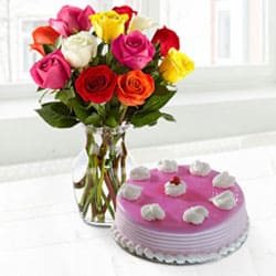 Tasty Strawberry Cake with Assorted Roses in a Vase for Mom  to Aligarh