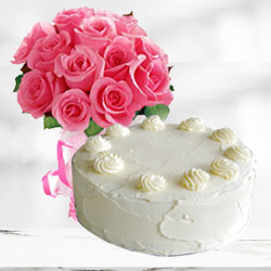 Enticing Vanilla Cake with Pink Roses Bouquet to Ahmedabad