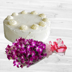 Marvelous Vanilla Cake with Orchids Bouquet to Coimbatore