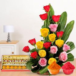 Resplendent 20 Roses and tasty assorted Sweets to Dhoraji