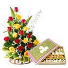 Resplendent 20 Roses and tasty assorted Sweets to Rajkot
