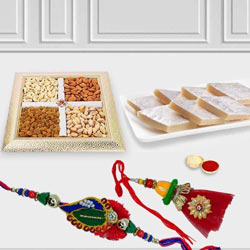 Bhaiya Bhabhi Rakhi with Kaju Katli n Dry Fruits to Allahabad