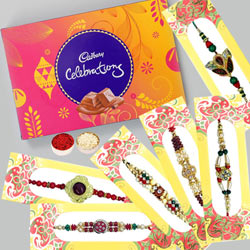Traditional Set of 6 Rakhis with Cadbury Celebration (126 gm) to Allahabad