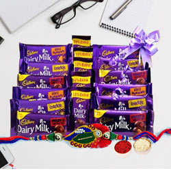 Assorted Cadbury Chocolates with Twin Rudraksha Rakhi to Ahmadnagar