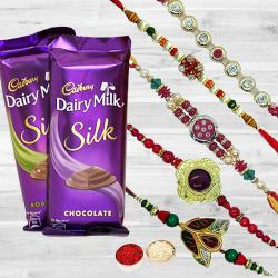 Alluring Rakhi Set with 2 pcs Cadbury Dairy Milk Silk to Ajmer