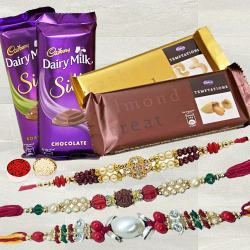 Amazing Trio Rakhi Set with 2 pcs Cadbury Temptation & 2 pcs Cadbury Dairy Milk Silk to Allahabad