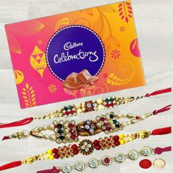 Exquisite Stone Studded Rakhi Set with Cadbury Celebration to Ahmadnagar
