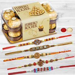 Set of 5 Rakhis with 16 pcs Ferrero Rocher to Aleppy