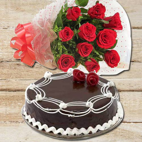 Graceful Collection of Red Roses with Red Velvet C... to Aluva