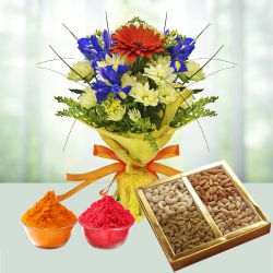 Charming Seasonal Flowers with healthy Dry Fruits to Ahmedabad
