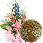 Seasonal Flowers Bouquet with  Assorted Dry Fruits  to Hyderabad