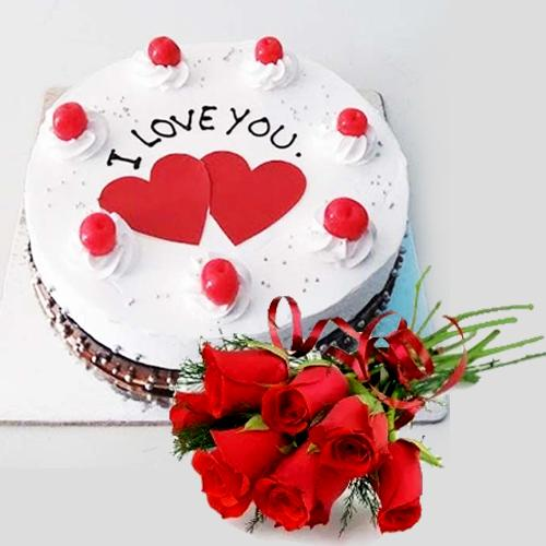Dazzling Propose Day Gift of Black Forest Cake wit... to Aluva