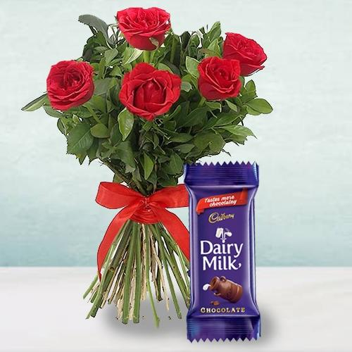 Attractive 5 Red Roses Bunch with a Cadbury Chocol... to Aluva