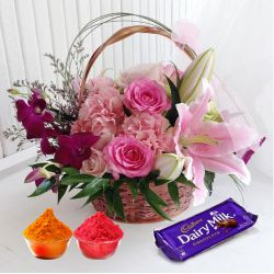 Splendid colorful Flowers along with luscious Cadburys Chocolate to Ahmedabad