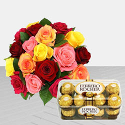 Stunning 24 colourful Roses bunch combined with delicious Ferrero Rocher Chocolate box to Gurgaon