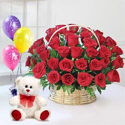 Impressive 50 Red Roses combined with crunchy Ferrero Rocher Chocolates delight  to Ambala