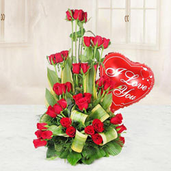 Marvellous 36 Red Roses including a Heart shaped Balloon to Gurgaon